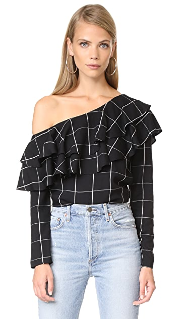 WAYF Everett One Shoulder Ruffle Top