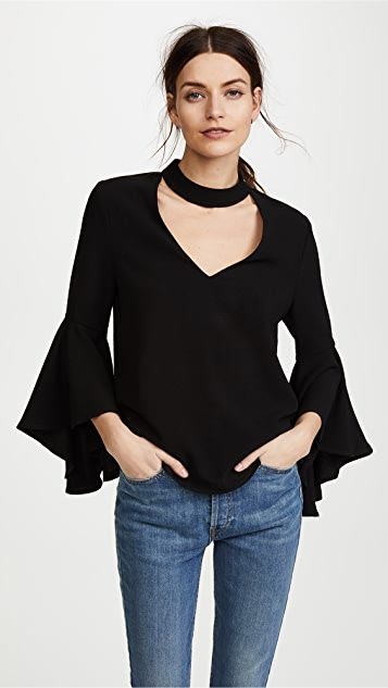 WAYF Drew Mock V Neck Bell Sleeve Top