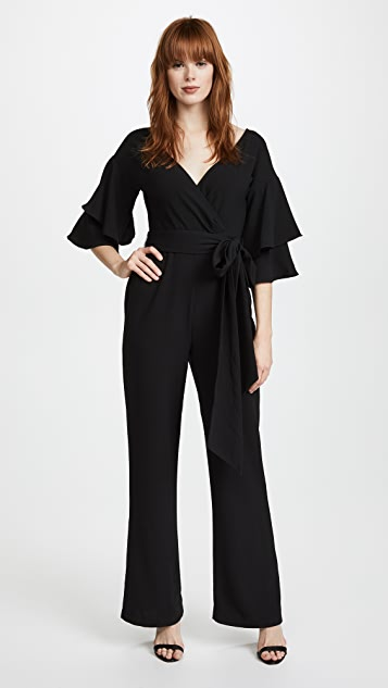 WAYF Blake Tiered Flutter Sleeve Jumpsuit - Black