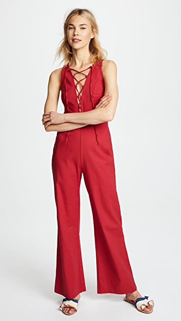 WAYF Cara Sleeveless Lace Up Jumpsuit