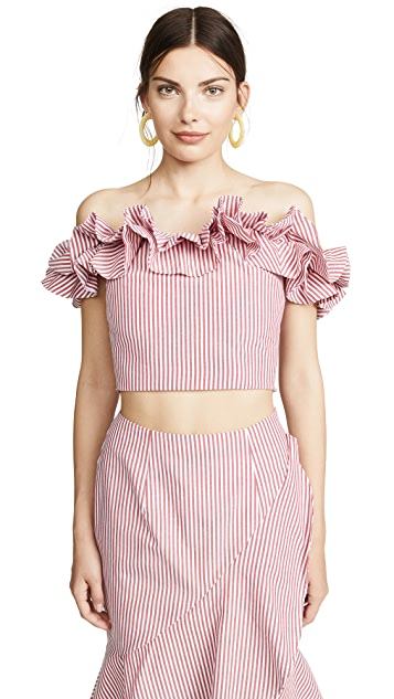 WAYF Anzio Strapless Crop Top