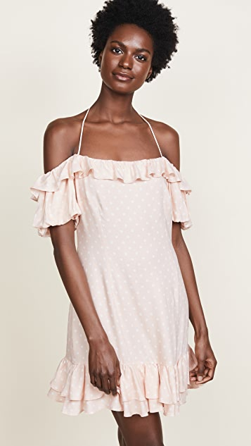 WAYF Tasha Off Shoulder Halter Mini Dress