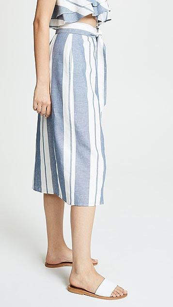 WAYF Banner Swing Midi Skirt