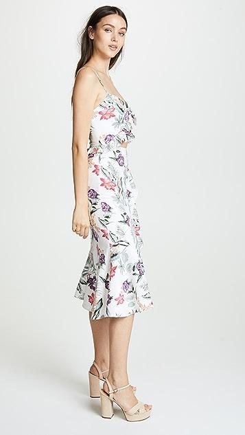 WAYF Mahari Ruffle Knot Front Dress