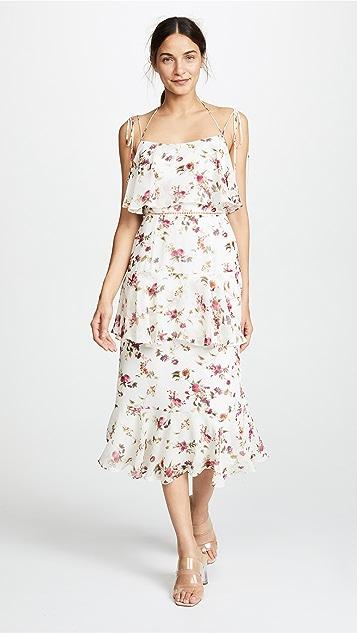 WAYF Imola Tiered Midi Dress