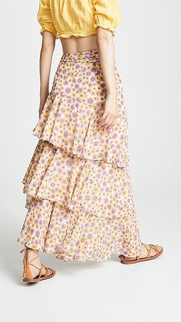 WAYF Diana Ruffle Tiered Skirt