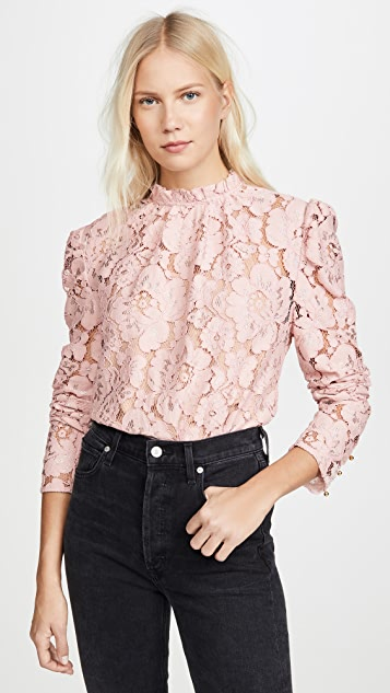 WAYF Erika Puff Sleeve Lace Top
