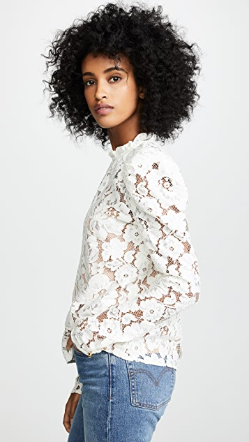 WAYF Emma Puff Sleeve Lace Top