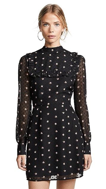 WAYF Manor Ruffle Bib Mini Dress