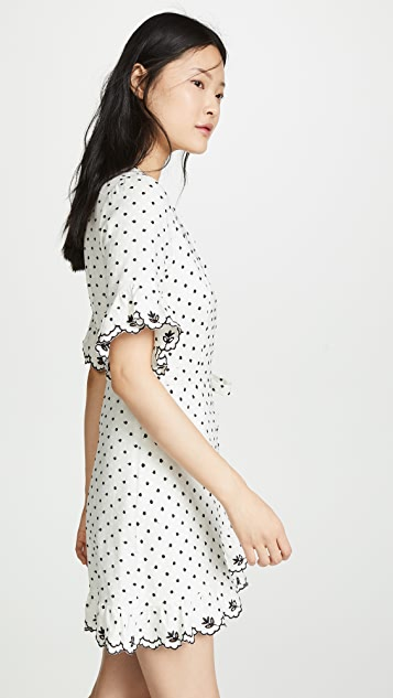 WAYF Hatty Ruffle Wrap Mini Dress