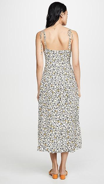 WAYF Платье Pheobe с разрезом и завязками спереди