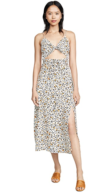 WAYF Pheobe Tie Front Slit Dress