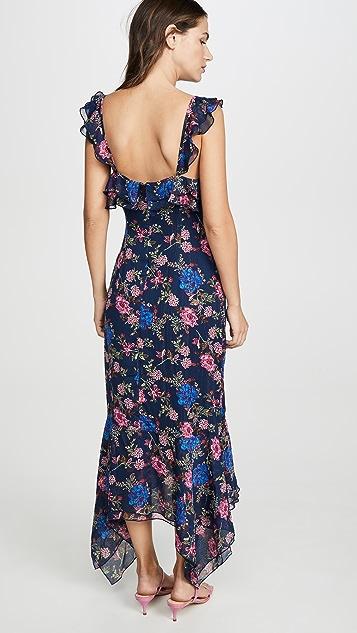 WAYF Issy Ruffle Strap Midi Dress
