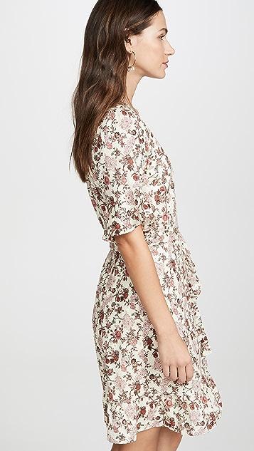 WAYF Kaitlyn Eyelet Wrap Mini Dress