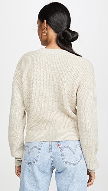 WAYF Varsity Knot Front Sweater