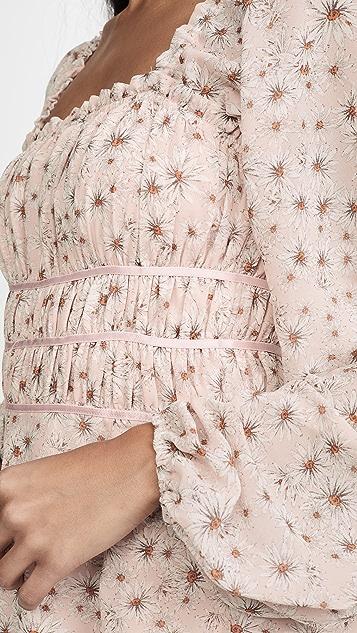 WAYF Liza Long Sleeve Smocked Midi Dress