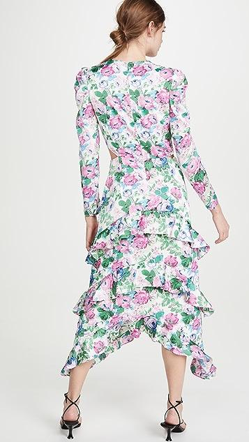 WAYF Dreamer Tiered Cutout Dress