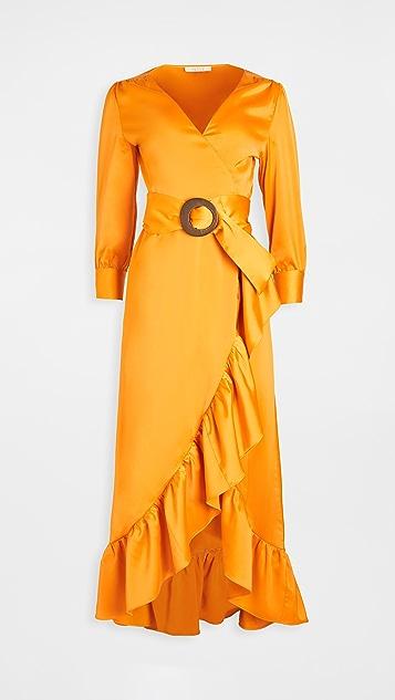 WAYF Savoia 系腰带裹身中长连衣裙