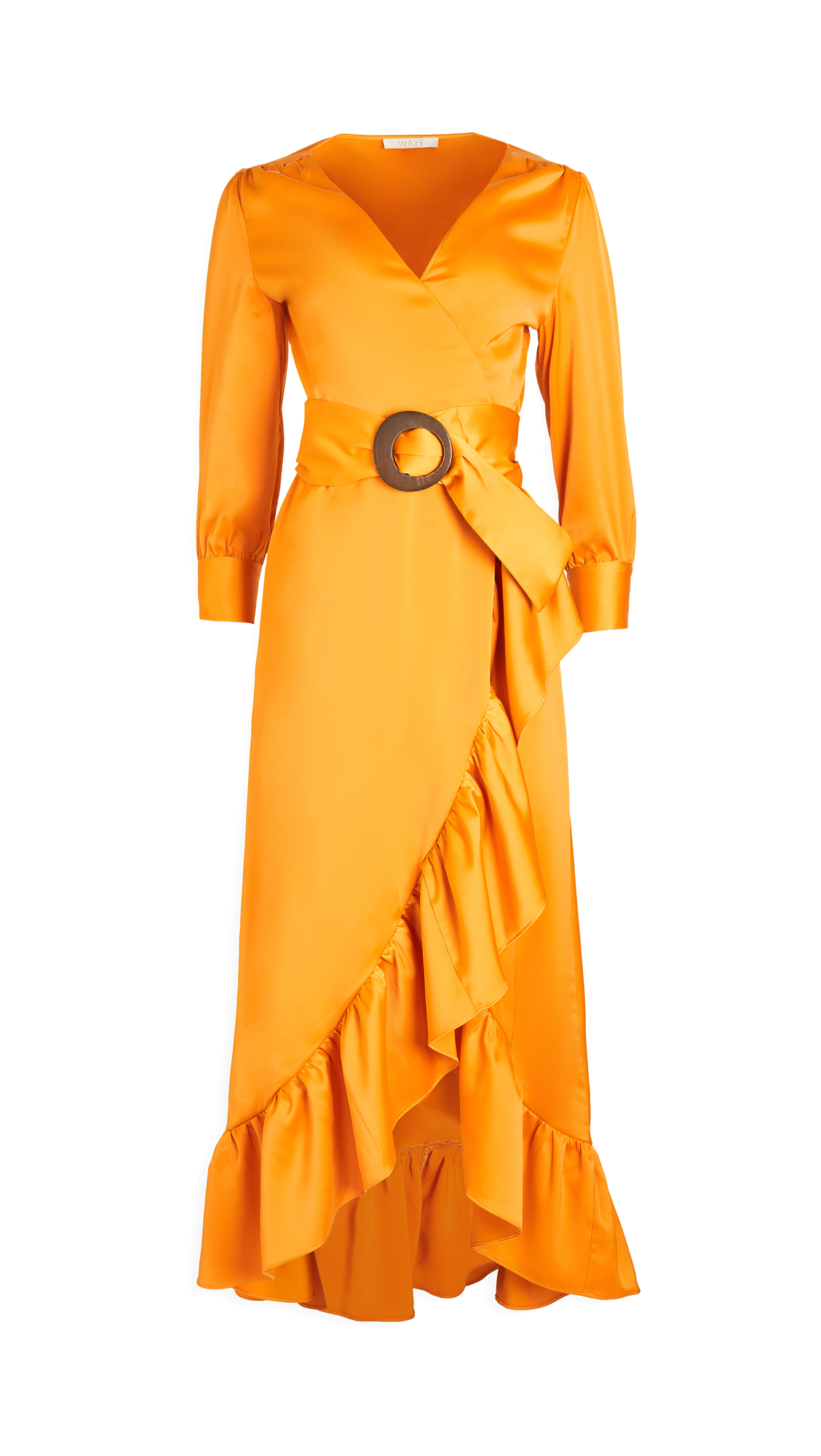 WAYF Savoia Belted Wrap Midi Dress