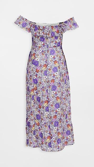 WAYF Ruffle Neck Flounce Midi Dress