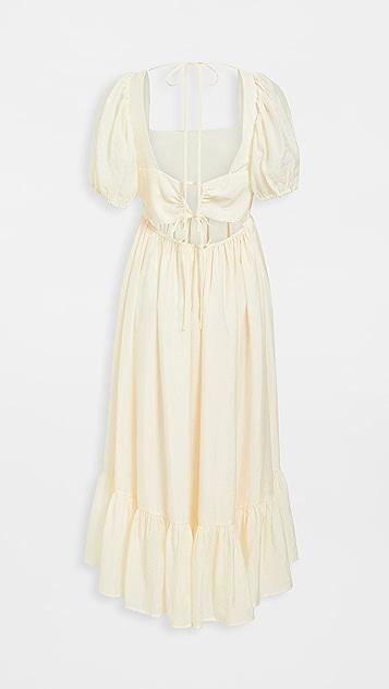 WAYF Lucca 中长褶皱连衣裙