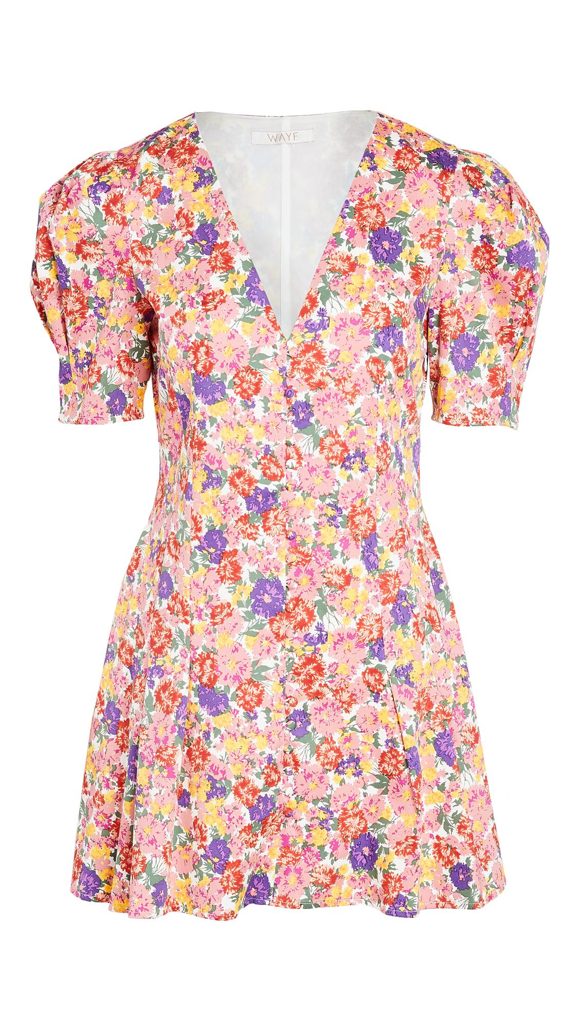 WAYF Giada Puff Sleeve Mini Dress