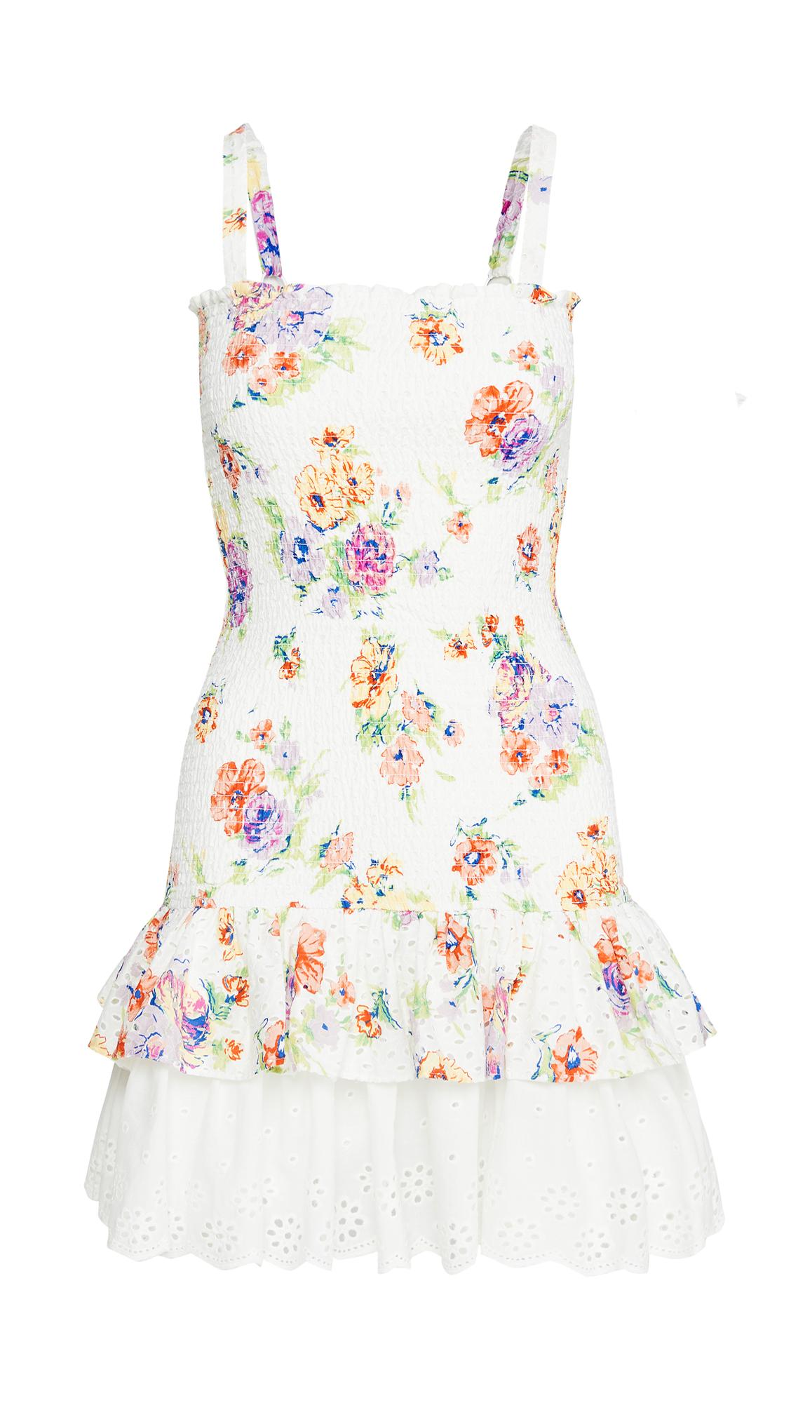 WAYF Herbie Smocked Tiered Ruffle Mini Dress