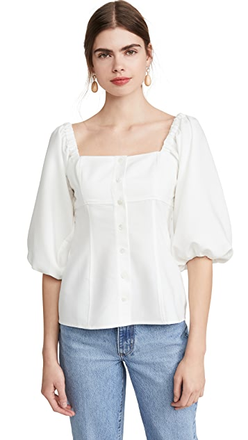 WAYF Aberdine Puff Sleeve Button Front Top