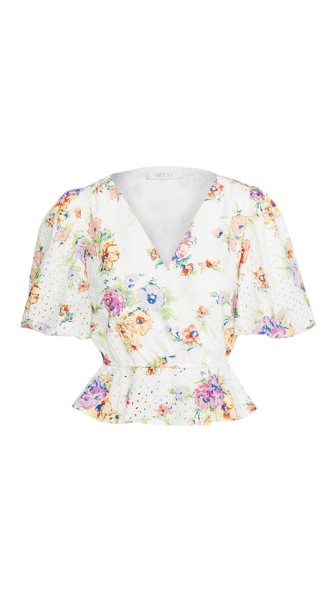 WAYF Pastel Floral Puff Sleeve Top