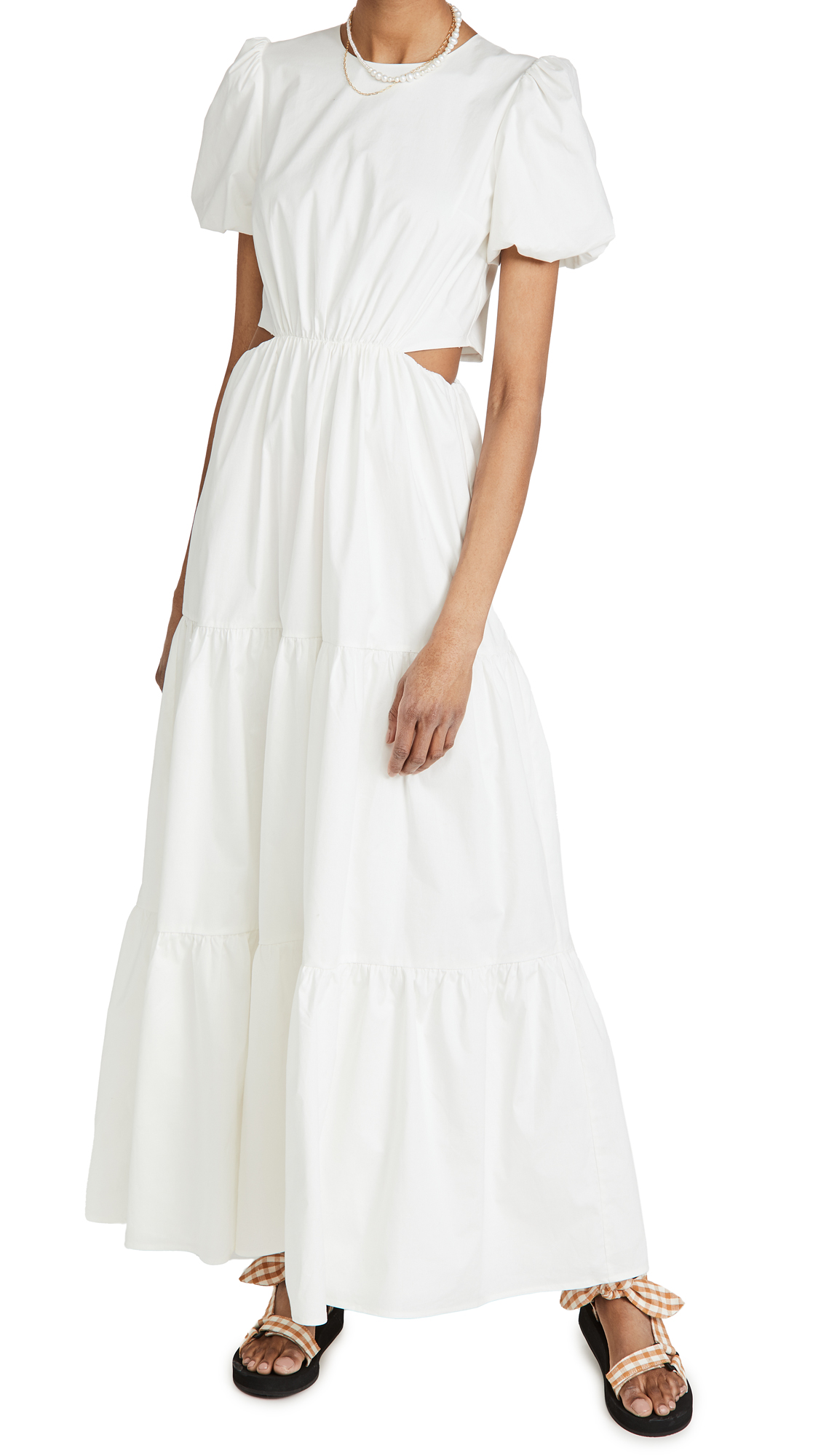 WAYF Plaza Cut Out Tiered Maxi Dress