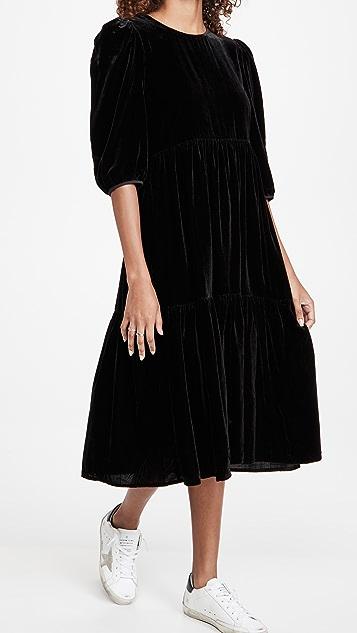WAYF Channing Tie Back Tiered Midi Dress