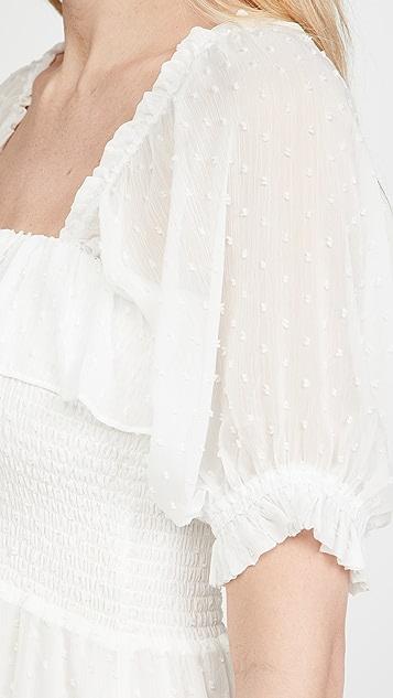 WAYF 抽褶中长连衣裙