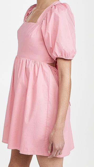 WAYF Tie Back Puff Sleeve Mini Dress
