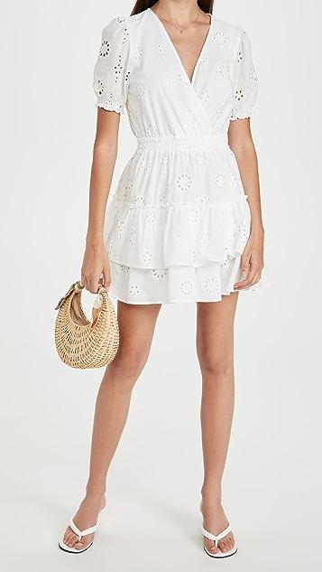 WAYF Reese Smocked Waist Tiered Mini Dress
