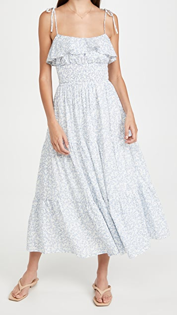 WAYF Naysa Tie Strap Smocked Dress