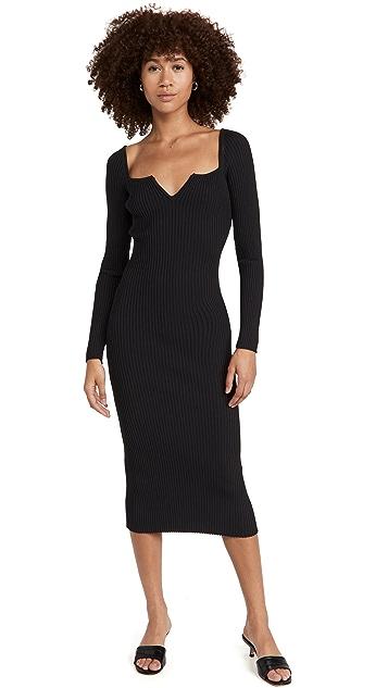 WAYF Split V Square Neck Midi Dress