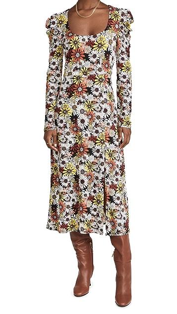 WAYF Lalia Puff Sleeve Slit Front Dress