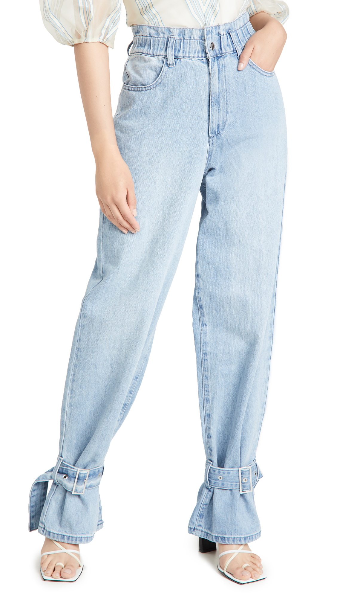 WeWoreWhat Paper Bag Buckle Jeans