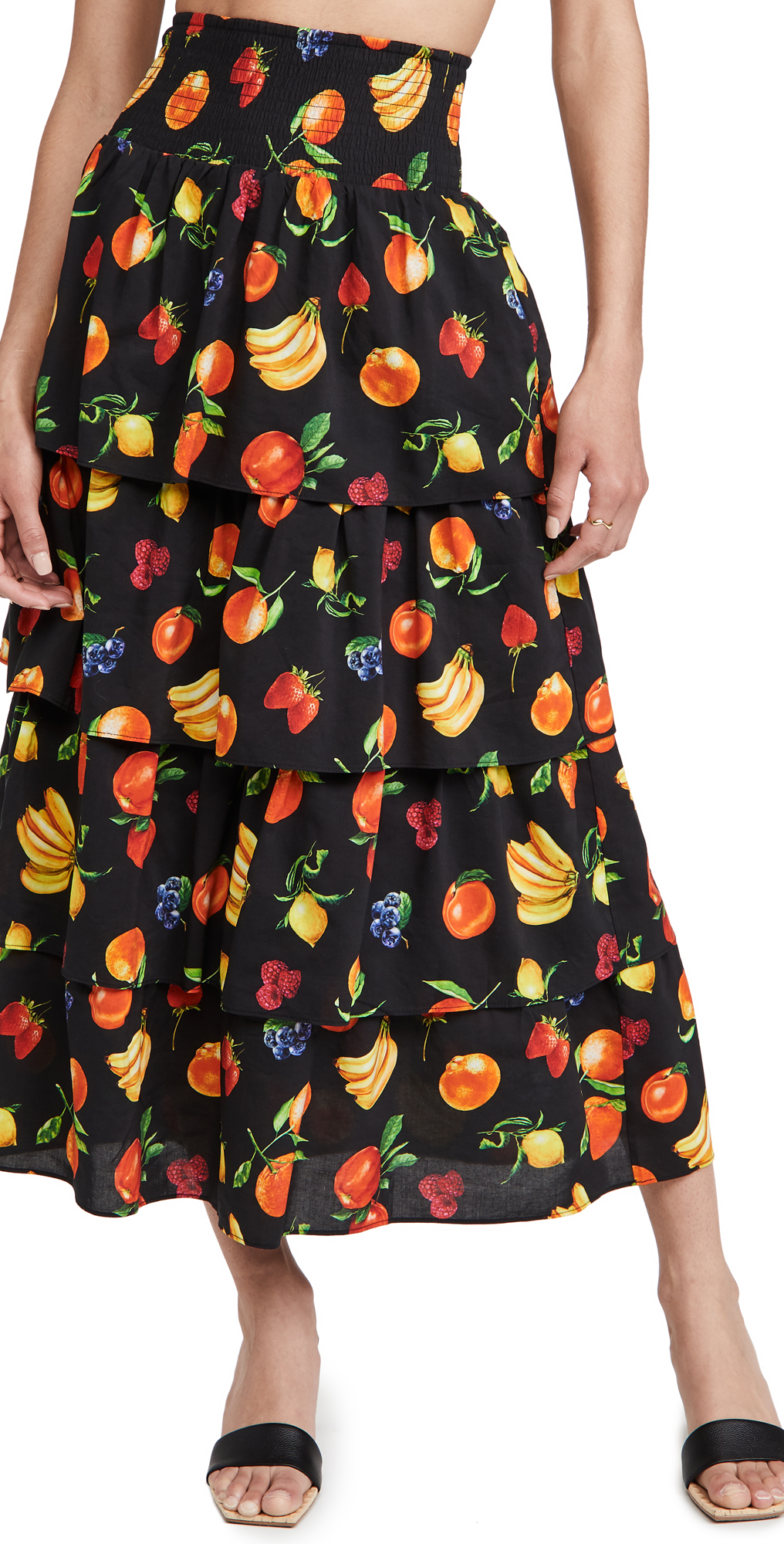Weworewhat Paloma Tiered Printed Skirt In Black Multi