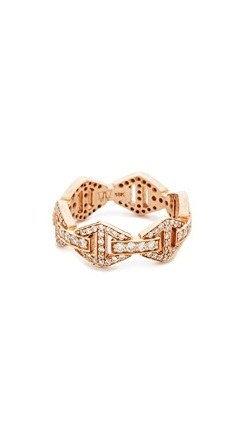 Walters Faith Keynes All Diamond Hexagon Stackable Ring