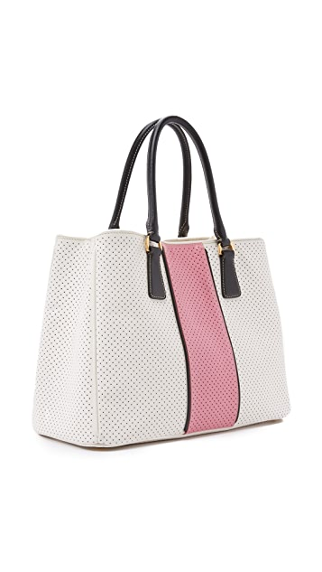 What Goes Around Comes Around Prada Perforated Saffiano Tote Bag (Previously Owned)