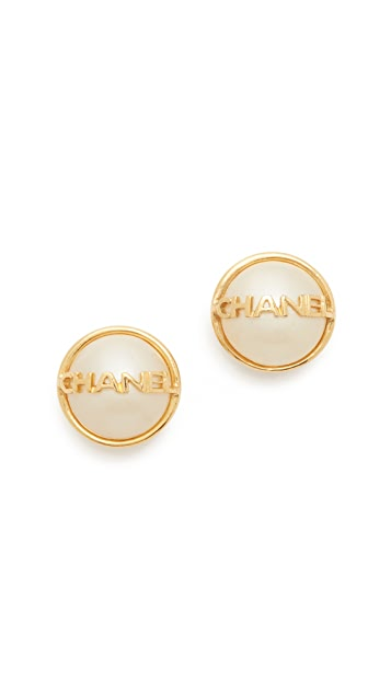 What Goes Around Comes Around Chanel Name Imitation Pearl Earrings (Previously Owned)