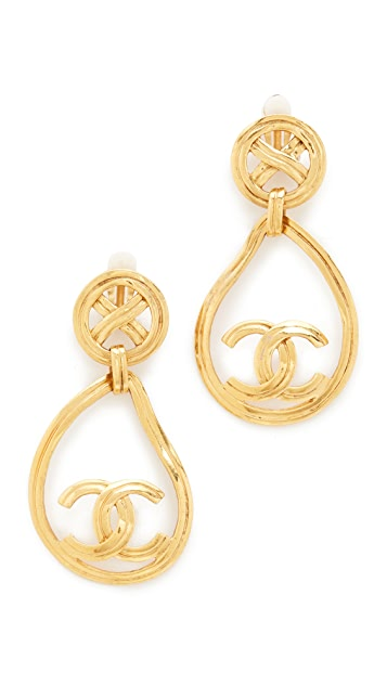 What Goes Around Comes Around Chanel X Circle Tear Dangle Earrings (Previously Owned)