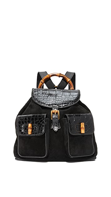 What Goes Around Comes Around Gucci Croc Bamboo Backpack