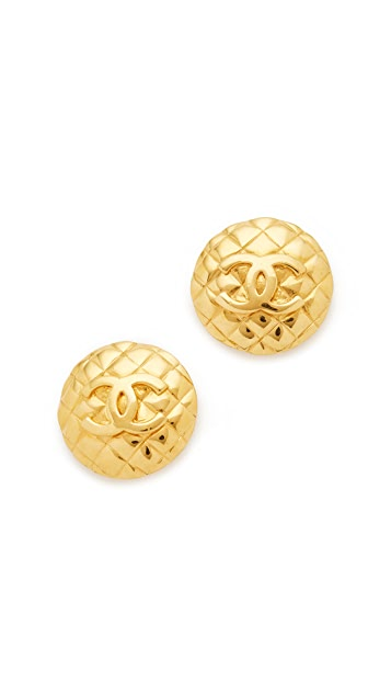 What Goes Around Comes Around Chanel Quilted Button Clip On Earrings (Previously Owned)