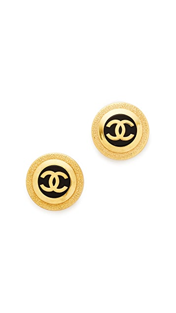 What Goes Around Comes Around Chanel CC Button Earrings (Previously Owned)