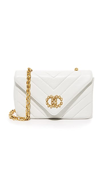 What Goes Around Comes Around Chanel Chevron Faux Pearl Bag (Previously Owned)