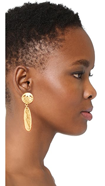 What Goes Around Comes Around Chanel Gold Quilted Dangle Earrings (Previously Owned)