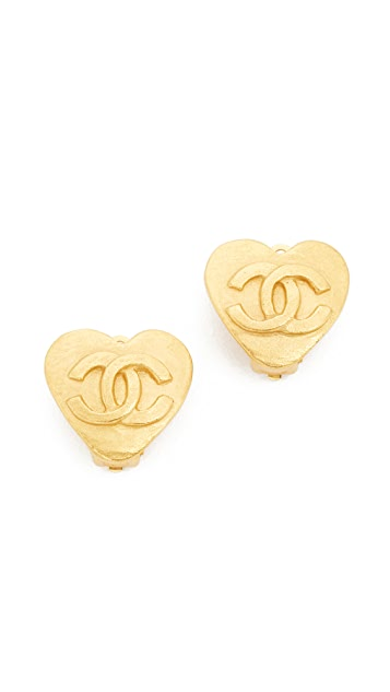 What Goes Around Comes Around Chanel CC Heart Clip On Earrings (Previously Owned)