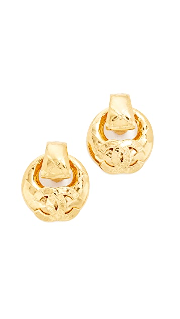 What Goes Around Comes Around Chanel CC Quilted Hoop Clip On Earrings (Previously Owned)